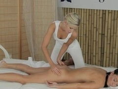 Sexy blonde masseuse and busty brunette toying