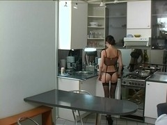 Threesome at the kitchen