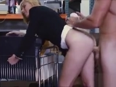 Hot blonde milf gives head and pounded in storage room