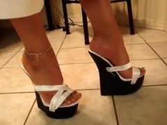 white sexy wedges mules heels plataformas sexys