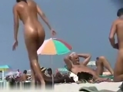 Hot girl is naked on beach