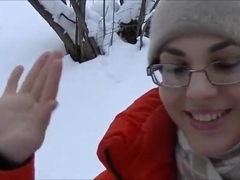 Cum swallow on the snow