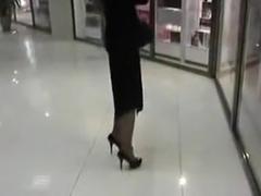 Dirty GF Walks Mall w/ Cum on Her Face