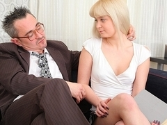TrickyOldTeacher - Sexy blonde student sucks cock of teacher and fucked to better grade
