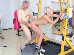 Martina and OldGoesYoung guy fuck like pornstars in the gym - OldGoesYoung