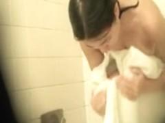 Amateur taking a fast shower