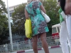 Excellent upskirt of golden-haired in transport