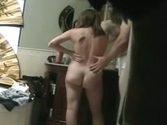 A chubby nude girl filmed by a spy camera.