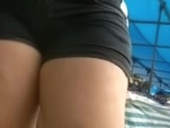 Big fat asses in shorts caught in street candid video