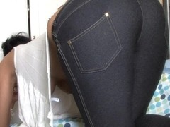 Big butt brunette shows off in a down blouse video