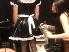 Bossy dominatrix tortures two sissy thralls
