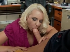 Busty blonde boss lady stimulates her main worker to work faster and better