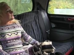 Blonde sucks and fucks in steamy taxi