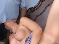 Cute wife receives screwed hard by 2 aged men in front of spouse