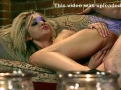 Glamour babe cuffs guy after rimjob and sex