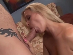 Blonde after sex gets cum on pussy