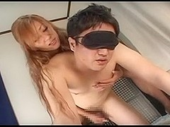 CFNM asian handjob with long nails