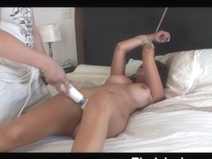 Farrah is tied up and drilled with a dildo by her lover