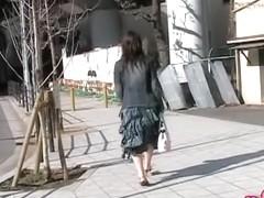 Long skirt sharking adventure of oriental tart being caught off her guard