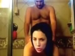 Youthful dilettante pair in hawt homemade shower sex scene filmed on movie scene