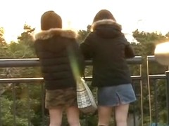 Curious Japanese babe flashes her beaver when her skirt gets lifted