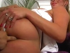 We set up big busted Krystal and her brunette girlfriend with two ass loving studs.