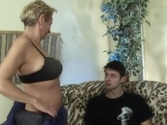 Blonde granny Autumn Leaf entertains with young boy