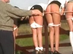 Four wicked teens in uniforms caned in public