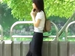 Wild skirt sharking video in a Japanese public park