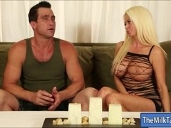 Huge boobs mature masseuse milking cock under the table