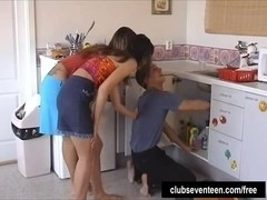 Teens Carol and Veronika sharing a plumber