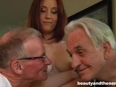 Teen honey take two old dicks