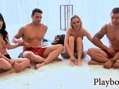 Two beautiful couples playing sex game in topless
