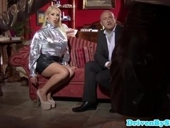 Busty british threesome babes share old cock