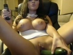 beautiful slut comes a cucumber in the pussy