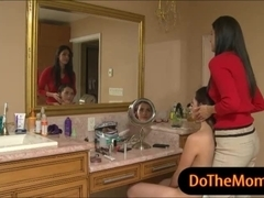 India Summer and Melanie Raine threeway in the bathroom
