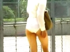 Long-legged lusty gal getting her skirt totally ripped during sharking attack