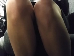 Business Class Upskirt sheer legs