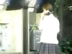 Sweet Japanese schoolgirl in a public sharking video