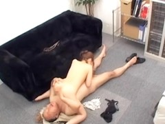 Titless Japanese screwed doggystyle in voyeur sex video