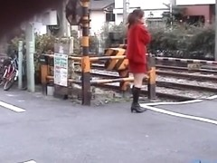 Sharking of a lovely Asian chick in a short red skirt