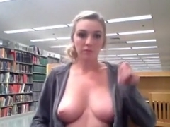 Hot Coed Blows Bubbles and Flashes in School Library