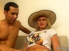 Dirty short haired blonde tranny got her ass rammed hard