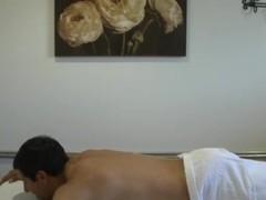 Busty oriental wankedoff masseuse jerking client