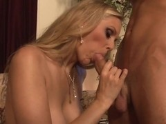 Horny Julia Ann spreads her lips round this hard prick