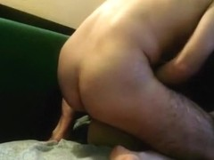 Nerdy glassed milf has sex with her husband on the couch