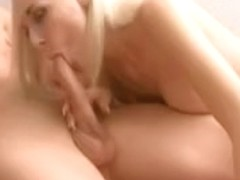 Breathtaking golden-haired dilettante girlfriend engulf and fuck with facial