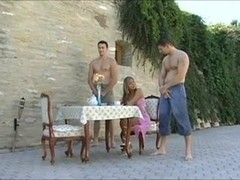 Rich lady in pink acquires screwed right into an rectal hole by two dudes
