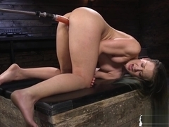 Machine babe plowed from behind before orgasm