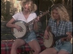 Banjo-playing blond tramps with worthy breasts are screwed by fortunate redneck on farm